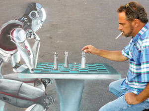 Posing playing chess with a robot 3D