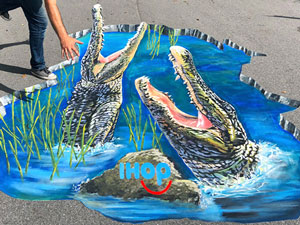 Posing with IHOP Gator Hole 3D