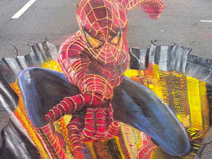 Spiderman 3D chalk art