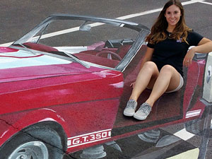 Posing on Woodward Dream Cruise 3D Ford Mustang kiddie ride