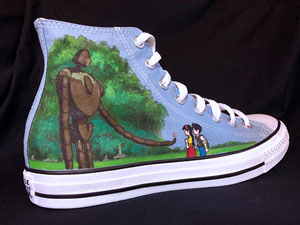 Studio Ghibli Castle in the Sky art on Converse All-Star hightop sneakers