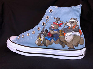Studio Ghibli Pom Poko art on Converse All-Star hightop sneakers