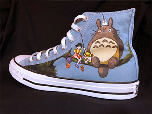 Studio Ghibli My Neighbor Totoro art on Converse All-Star hightop sneakers