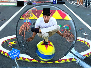 Posing with Flea circus 3D pavement art