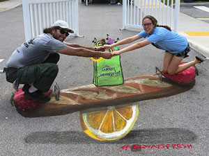 Bread and fruit teeter totter 3D pavement art