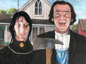 American Gothic and The Shining mashup pavement art