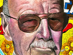 Detail of Stan Lee Marvel tribute pavement art