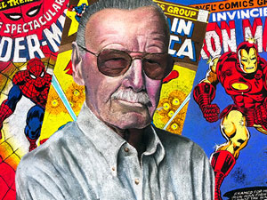 Stan Lee Marvel tribute pavement art