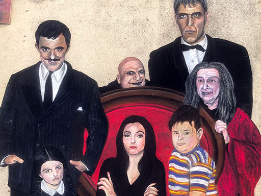 Addam's family chalk art