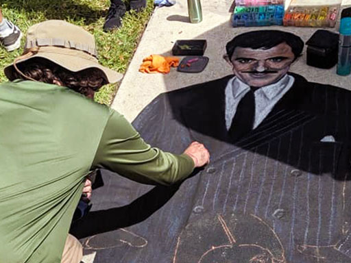 Working on Addam's family chalk art
