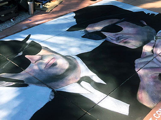 Posing with Blues Brothers chalk art