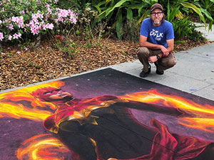 Captain Marvel pavement chalk art