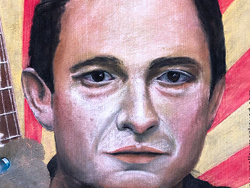 Johnny Cash pavement chalk art detail