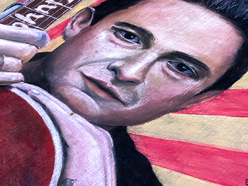 Johnny Cash pavement chalk art side view