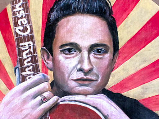 Johnny Cash pavement chalk art