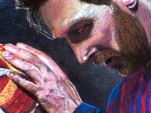 Lionel Messi pavement chalk art