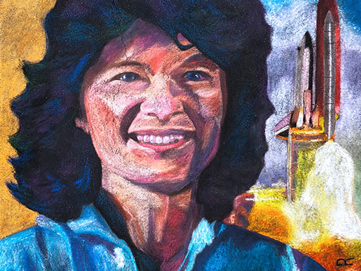 Sally Ride stamp pavement chalk art