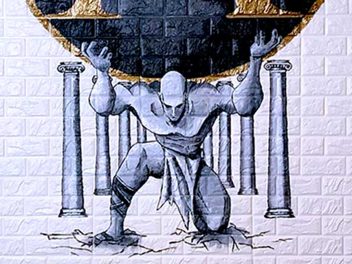 Atlas holding up world wall mural