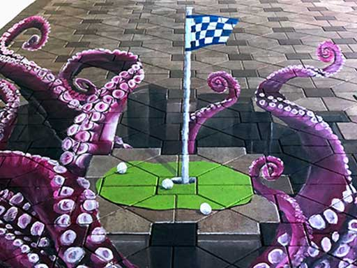 Golf putting green with octopus tentacles 3D pavement art