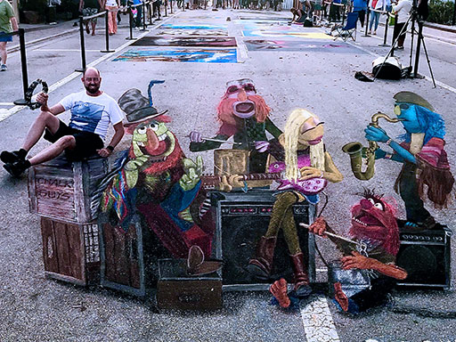 Posing with 3D Muppets Electric Mayhem chalk image