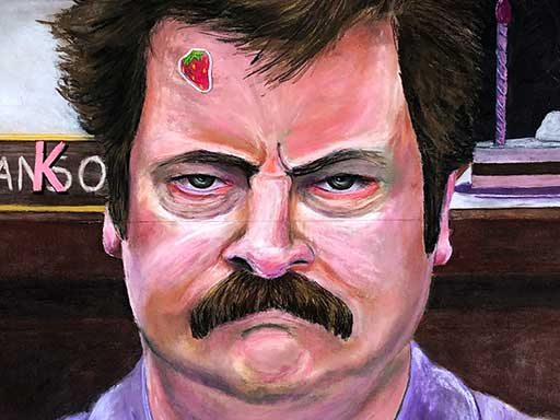 Parks and Recreation Ron Swanson chalk drawing