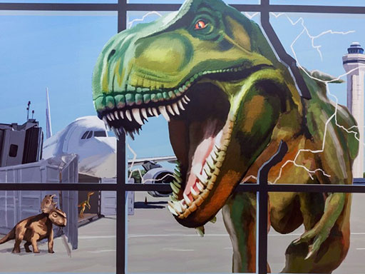 Zoo Miami airport 3D wall mural with dinosaurs